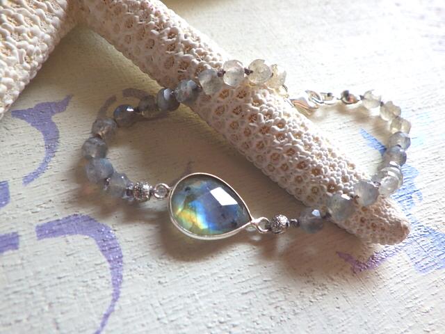 Framed Gemstone Bracelet--ラブラドライト sv925