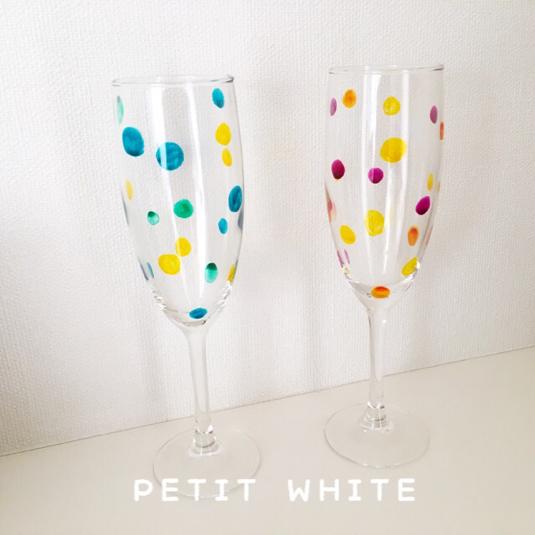【名入れ無料】水玉ガラスのシャンパングラス