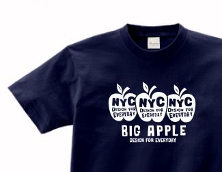 3 A p p l e s & N Y C ( B i g A p p l e ) 片面 150.160.(女性M.L) S〜XL Tシャツ【受注生産品】