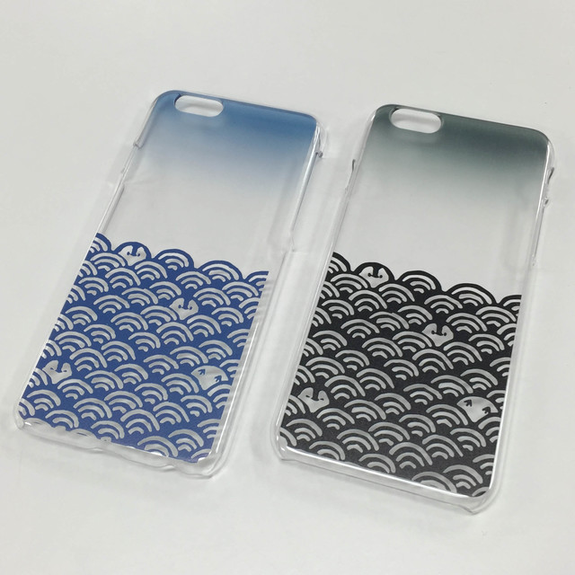iPhone透明ハードケース 青海波