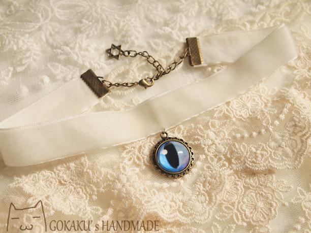 【新色】猫目ベロアチョーカーネックレス 藍X白 1.6cm