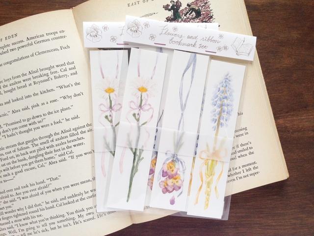 花とリボンのブックマークセット