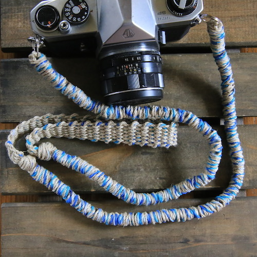 MIX麻紐ヘンプカメラストラップblue(2重リング)