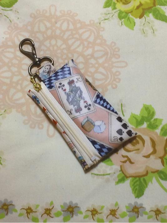 ランドセル 用 キーケース☆リール式 アリス柄スモーキーピンク
