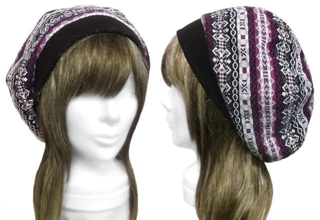 フォークロア調ジャガードニット/リブ付ベレー帽(ゆったり)◆黒紫系