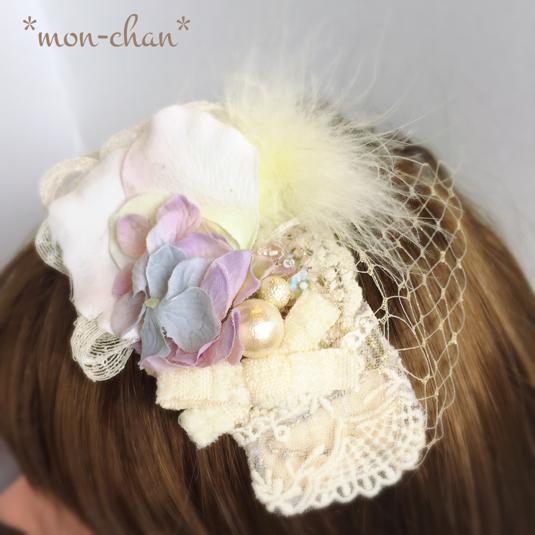 ☆ふわふわファーとチュールの花びらヘッドドレス☆
