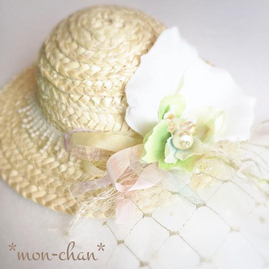 ☆チュールとお花のふんわりミニハットヘッドドレス☆