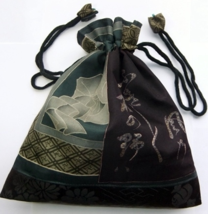 着物リメイク 男性用の長襦袢で作った巾着袋 1269