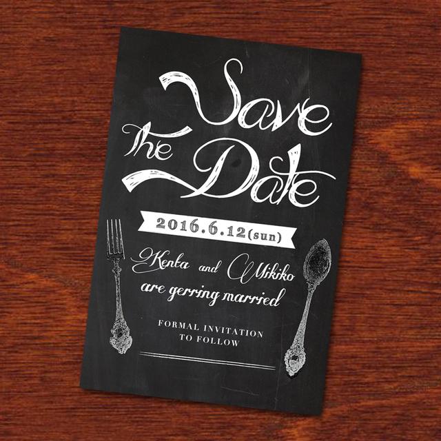 《20枚印刷込》[ Save the date ]ハガキ