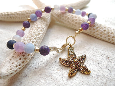 purple and Blue dragon agate bracelet