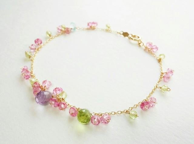 【14kgf】桜と菫の花色ブレスレット