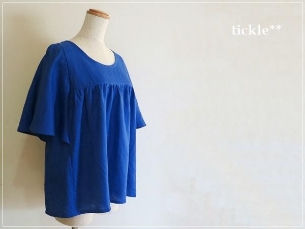 royal blue* リネンの バタフライスリーブ ブラウス