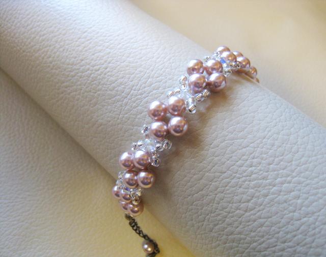チェコガラスパール&スワロフスキークリスタルブレス<SMA:ピンク>Bridal*