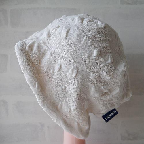 フラワー織柄コットン素材生地で作ったニット帽(白)