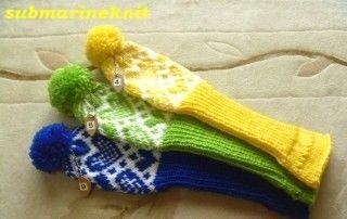 ハート柄の手編みFW用ヘッドカバー