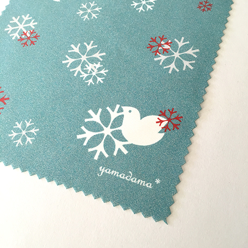 【再販】鳥と雪の結晶模様のめがね拭き