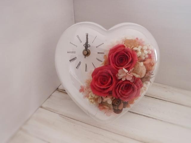 ハート型flower時計(レッド)