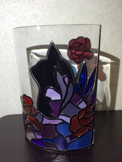 黒猫と風景のフラワーベース*グラスアート