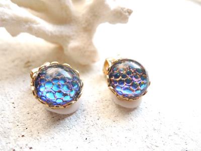 Sea bubble earring �ޡ��ᥤ�ɥ֥롼����� 11mm