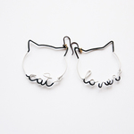 Arty Wire Pierced Earrings - cat lover BLACK