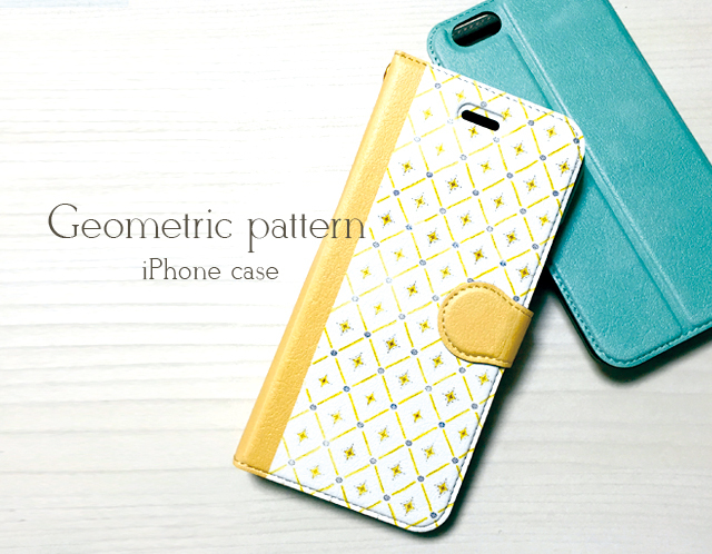 幾何学模様のiPhoneケース〈手帳型〉