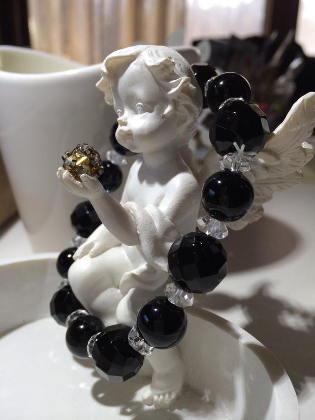 ブラックオニキス&クリスタルクォーツ(水晶)のブレス