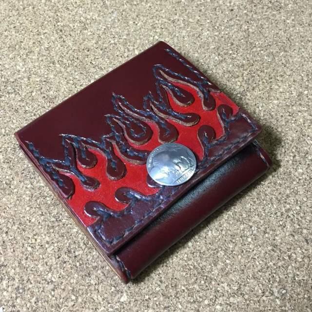 革手縫いコインケース フレア