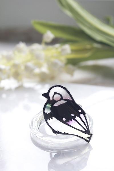 切り絵のアクセサリー 小鳥の指輪【あか】