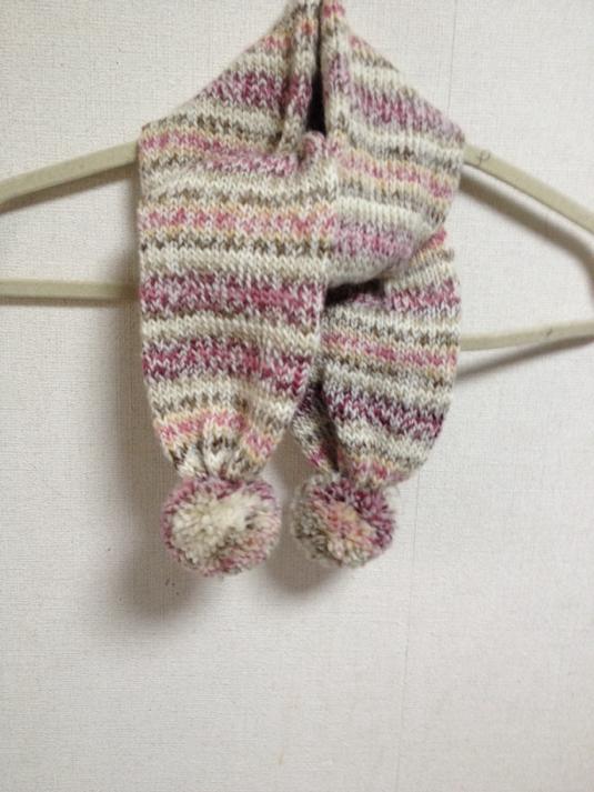 段染め糸で編んだミニマフラー