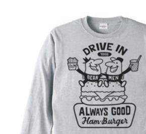 ビーンズマンとハンバーガー  長袖Tシャツ【受注生産品】