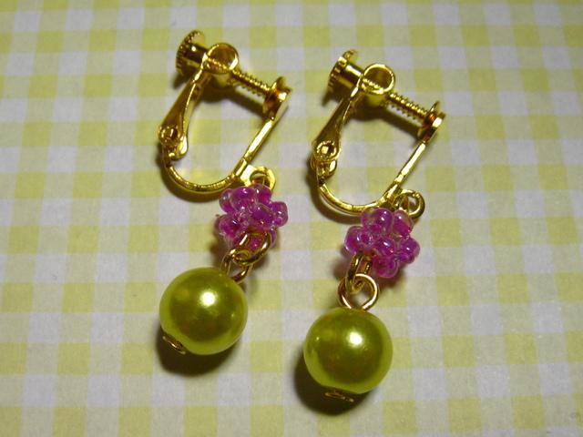 ★イヤリング★ビーズ★紫★パール★緑★シンプル★ゴールド★
