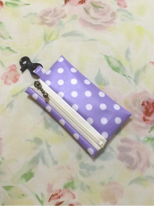 ランドセル用 キーケース☆リール式 薄ピンク 水玉 ドット柄