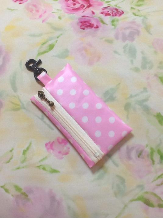 ランドセル用 キーケース☆リール式 水玉 ドット柄 薄ピンク