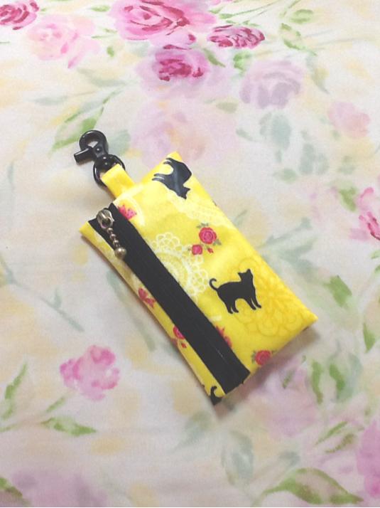 ランドセル用 キーケース☆ リール式 ねこ柄 ブラックファスナー