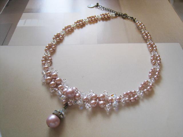 チェコガラスパール&スワロフスキークリスタルチョーカー<PJR:ピンク>Bridal*