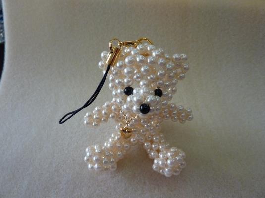 ストラップ パールビーズ 白クマ