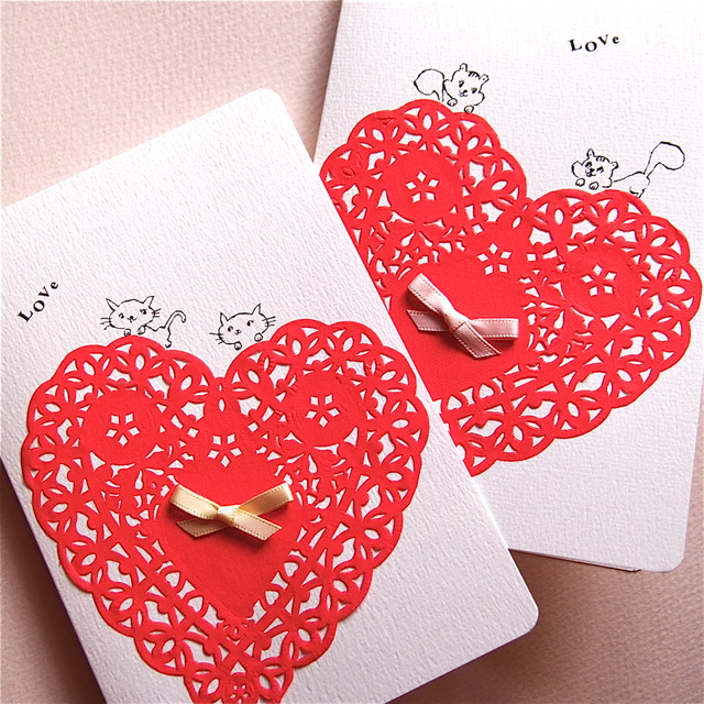 LOVE CARD - HEART RACE CAT& SQUIRREL 2PC SET -