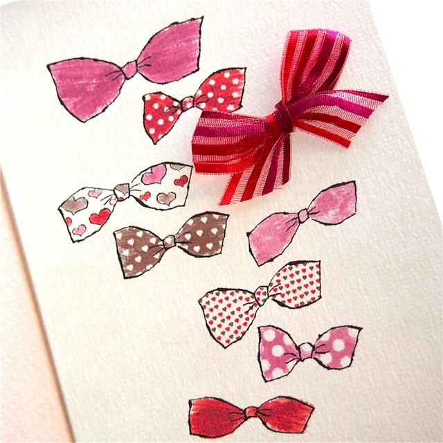 GREETING CARD -HEART LOVE RIBBONS-