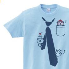 【再販】だまし絵 パンダ&ネクタイ 150.160.(女性M.L) S〜XL Tシャツ 【受注生産品】