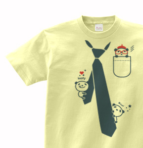 た?まし絵 ハ?ンタ?&ネクタイ  100〜140(キッズ)   Tシャツ【受注生産品】