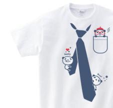 だまし絵 パンダ&ネクタイ 150.160.(女性M.L) S〜XL Tシャツ【受注生産品】