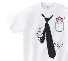 だまし絵 パンダ&ネクタイ150.160.(女性M.L) S〜XL Tシャツ【受注生産品】
