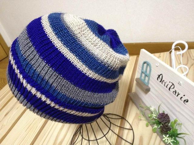 とてもかぶりやすい帽子です ブルー系