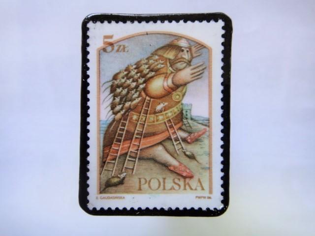 ポーランド 切手ブローチ1023