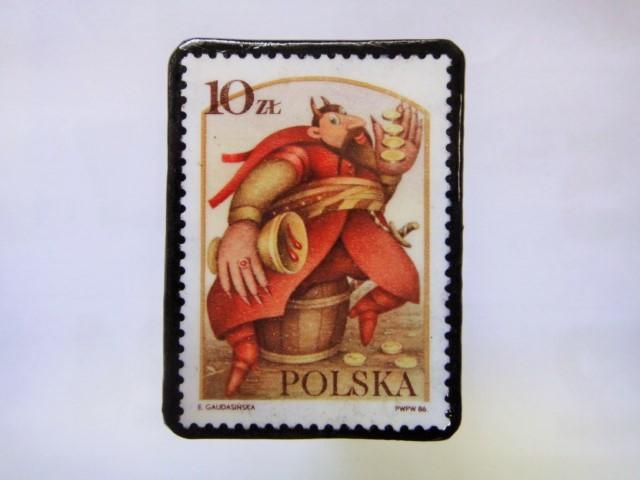 ポーランド 切手ブローチ1024