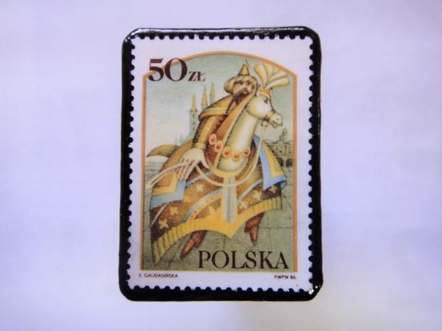 ポーランド 切手ブローチ1026