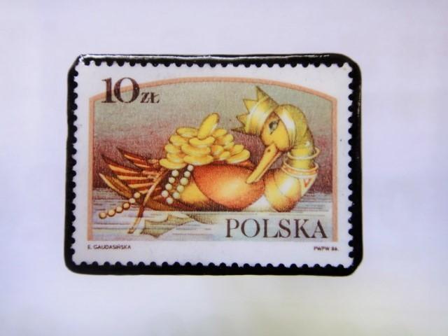 ポーランド 切手ブローチ1028