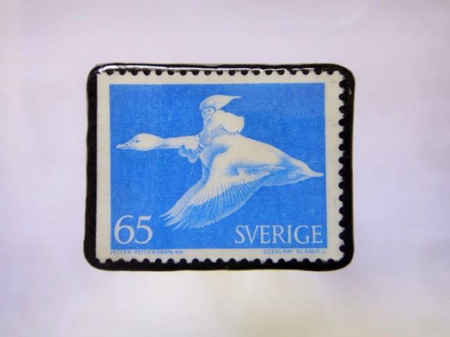 スウェーデン 切手ブローチ1029