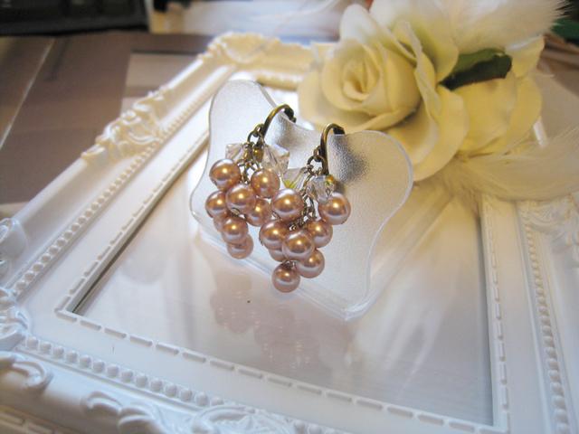 チェコガラスパール&スワロフスキークリスタルイヤリング<SMC:ピンク>Bridal*
