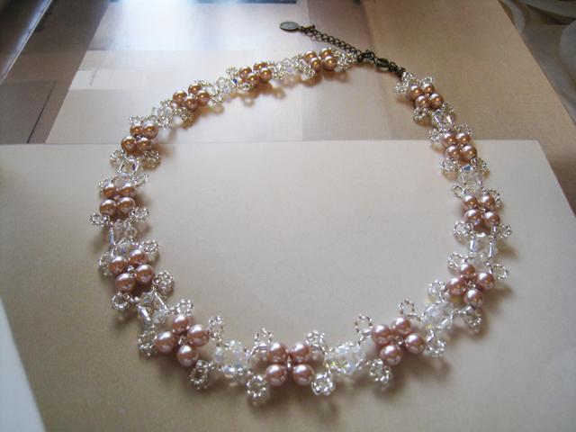 チェコガラスパール&スワロフスキークリスタルチョーカー<SMC:ピンク>Bridal*